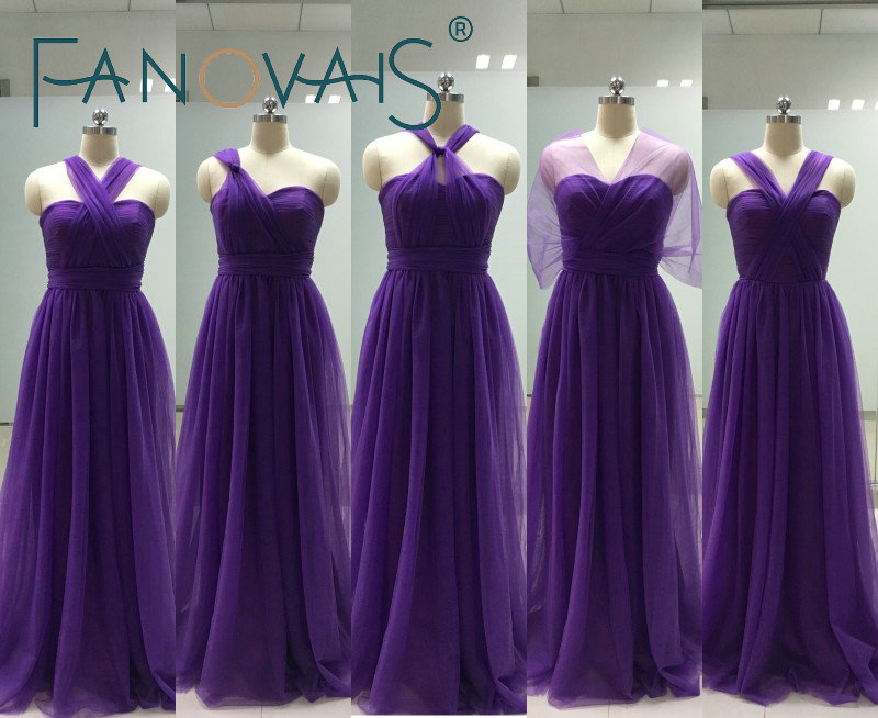 Cheap   Bridesmaid     Dresses   2019 Convertible Tulle   Bridesmaid     Dress   Purple multi style Maid of Honor   Dress   bruidsmeisjes jurk women