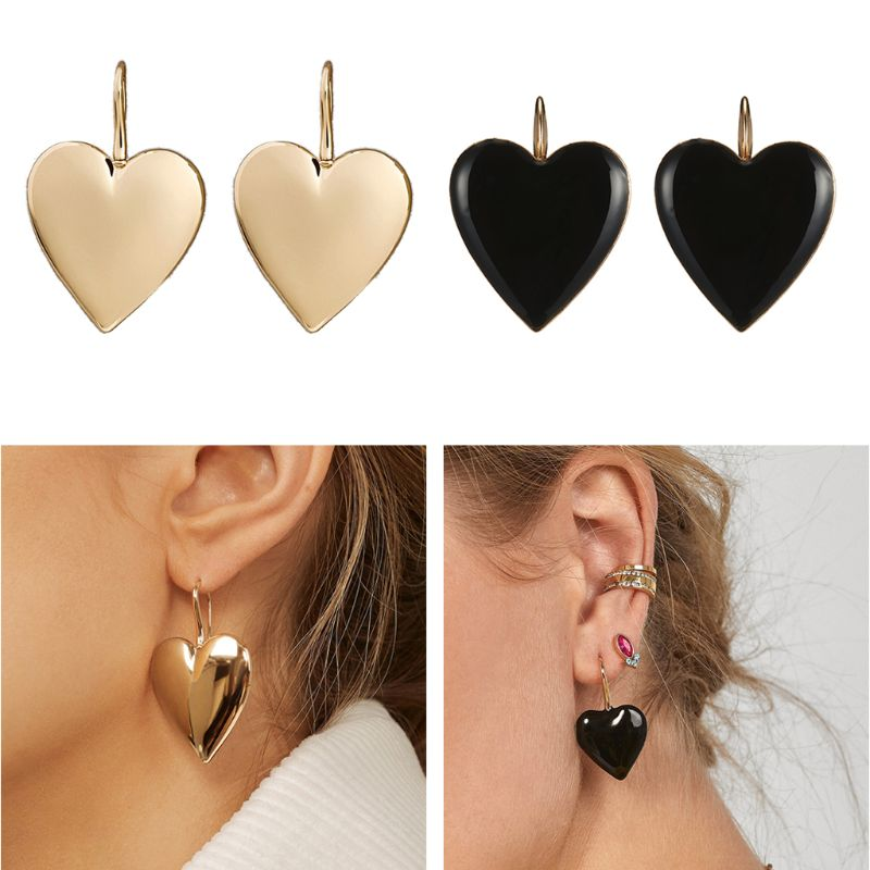 1 Pair 2 Types Fashion Black Gold Big Love Heart Hook Statement Drop Earrings For Women Jewelry  Gift