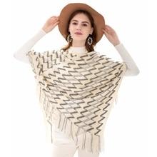 High Quality Women Luxury Brand Cotton Scarf Warm Soft Cashmere Fashion Striped Tassel Shawls Capes Winter Lady Pashmina Clothes