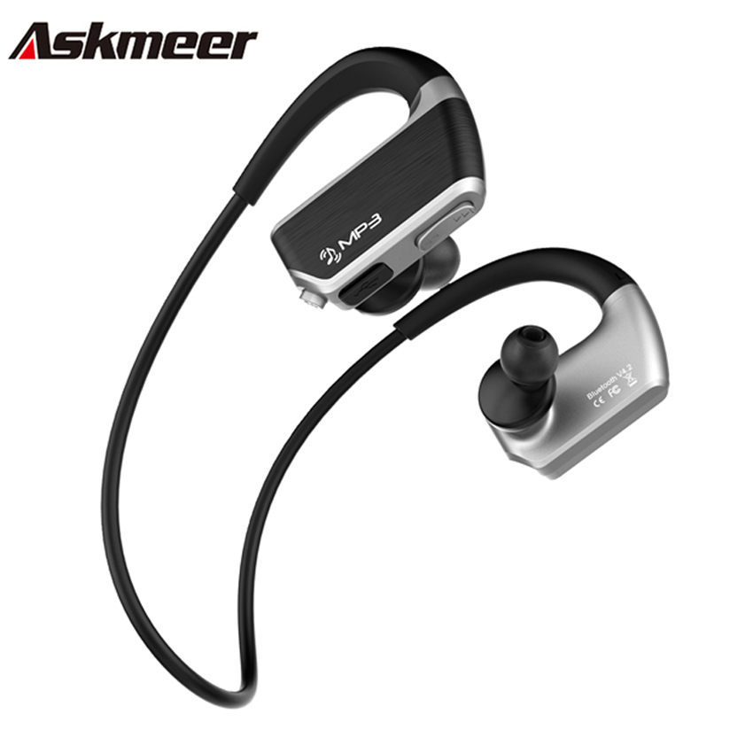 Askmeer J2 Wireless Bluetooth Earphone Sport Stereo Earbuds Headset Earpiece with Microphone+8GB Mp3 Player Two Play Mode wireless bluetooth sports headset earphone hifi microphone stereo music earbuds earpiece neckhang with rechargeable battery