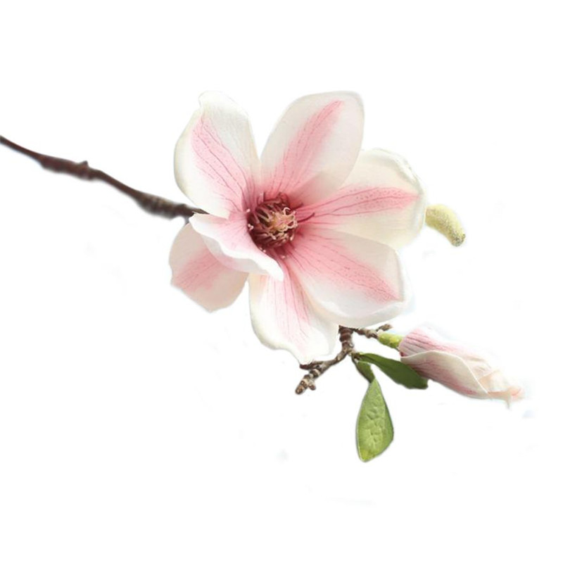 plastic cloth artificial magnolia flower branch with green leaf color home table decoration fake false