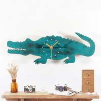 Imitation Wood Wall Clock Modern Design Do The Old Vintage Pastoral Lovely Crocodile Kids Wooden Clocks Wall Watch Home Decor