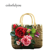 1bde9bb2e5cc New 2019 Designer High Quality Fashion Flower Straw Beach Bag ladies Rattan  Woven Tote Handbag Women