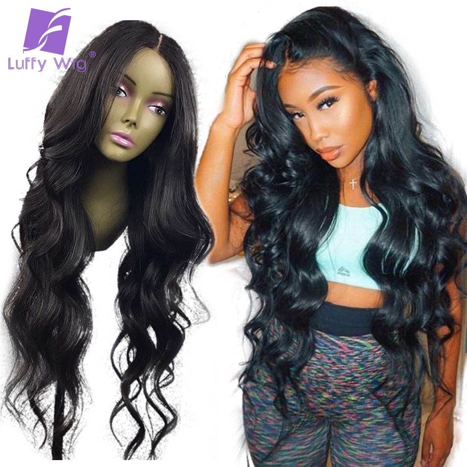 Luffy Wavy 13x6 Lace Front Human Hair Parykker Brazilian Non Remy - Menneskehår (sort)