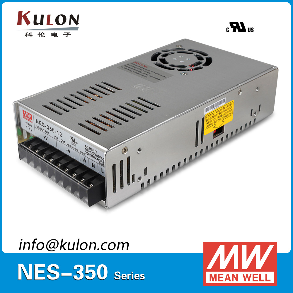 Original MEAN WELL NES-350-12 AC to DC single output 350W 29A 12V Meanwell Power Supply NES-350 meanwell 12v 75w ul certificated nes series switching power supply 85 264v ac to 12v dc