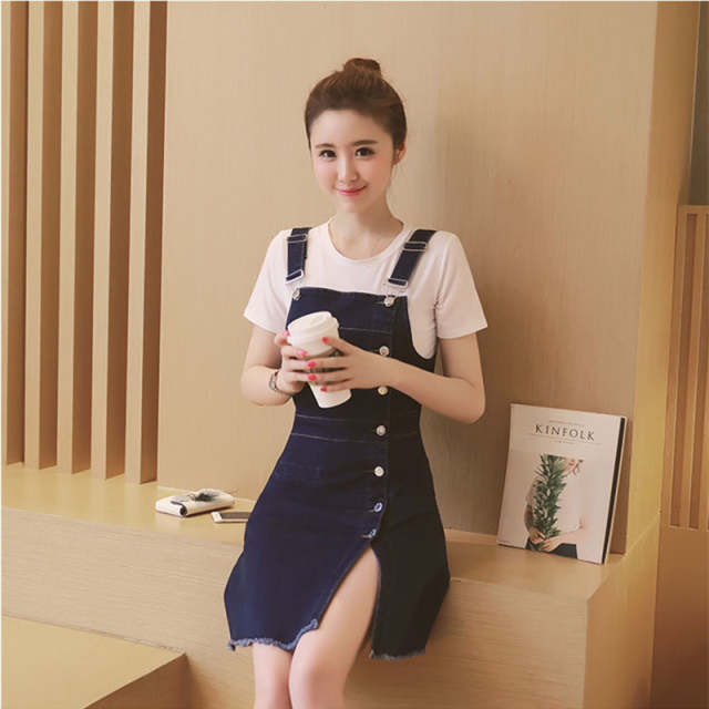 eed90942473 High Waist Suspender School Girl Skirt Ladies Front Button Jeans Mini Denim  Skirt Overalls Denim Skirts