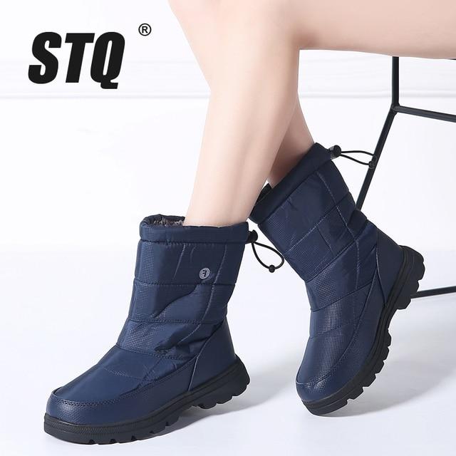 STQ 2019 Winter Women snow boots mid-calf boots women non-slip rubber boots black warm fur plush Waterproof boots 1811