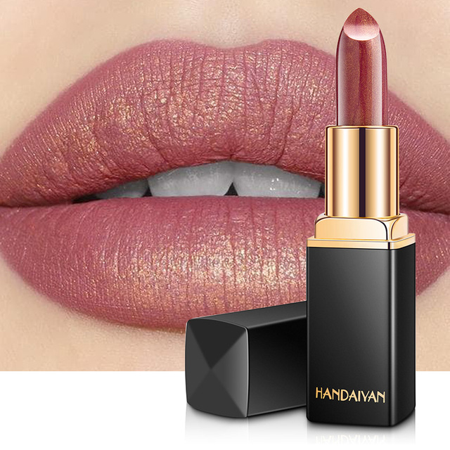 HANDAIYAN Brand Professional Lips Makeup Waterproof Long Lasting Pigment Nude Pink Mermaid Shimmer Lipstick Luxury Makeup