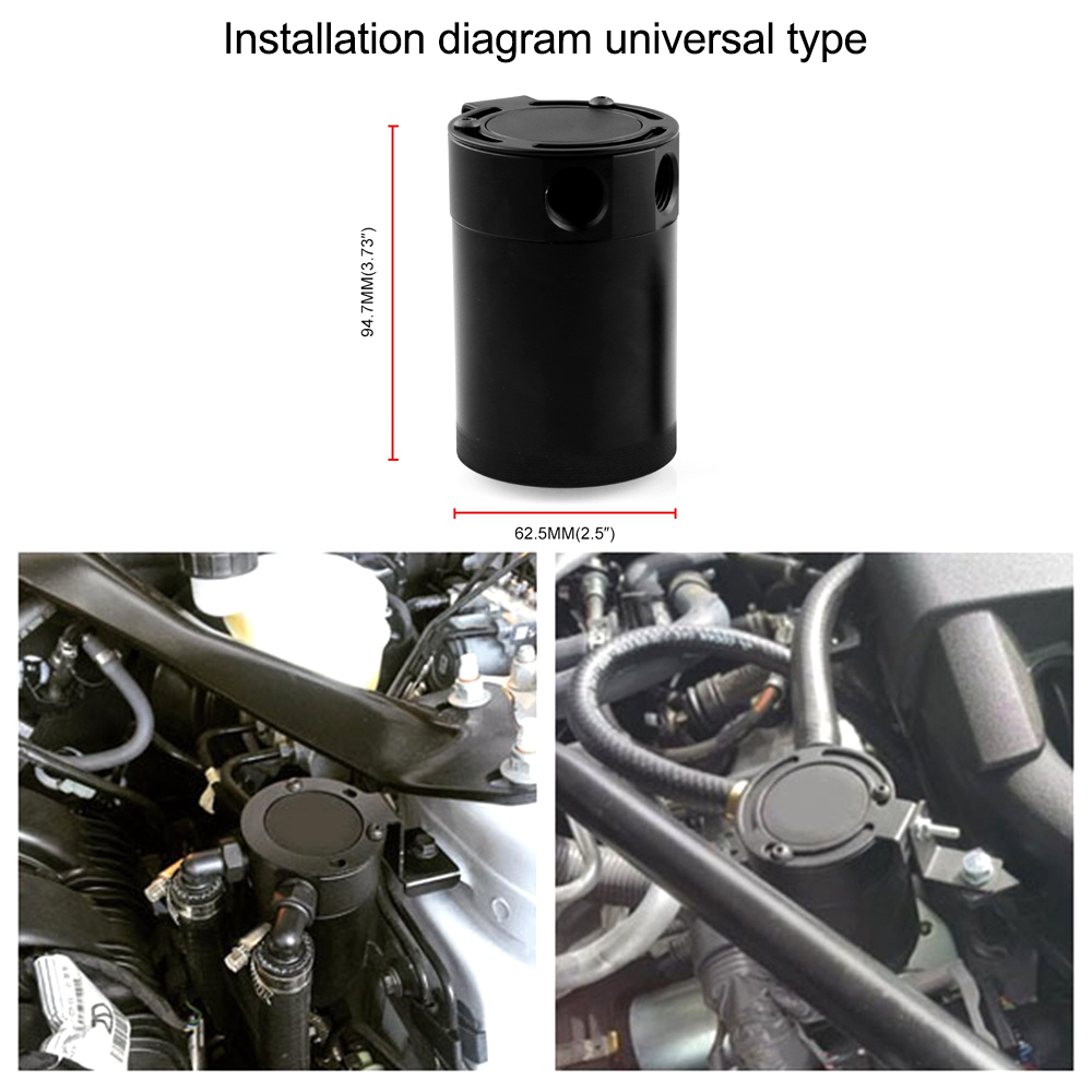 Car Fuel Tank Catch Alloy Aluminum Dual Ports Oil Tank Catch Breathable Fuel Tank Can Auto Replacement Parts