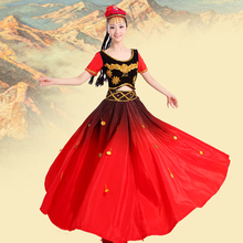 Xinjiang Uygur costume dance dress women performance square costume, Chinese Style Clothing With Headwear