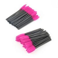 Make Up 200pcs Lot Make Up Brush Pink Synthetic Fiber Disposable Eyelash Brush Mascara Applicator Wand