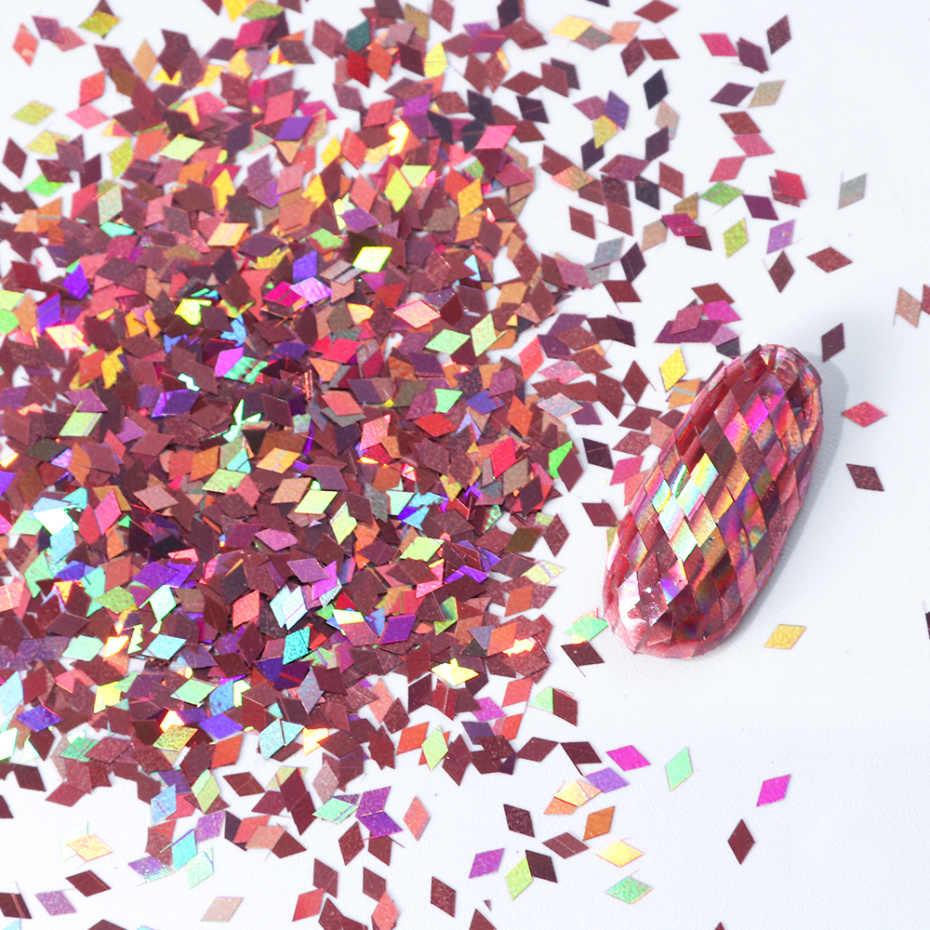 8 Kotak Campuran Glitter Kuku Seni Bubuk Serpihan Set Hologram Payet untuk Manikur Dekorasi Kuku Bersinar Tips LA1506-05-2