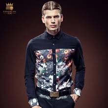 Free Shipping New fashion personality male Men's high-end customized printing plants self-cultivation shirt 612090 custom-made