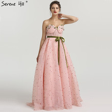 SERENE HILL Long Pink Beaded Pearls Formal Dress With