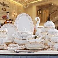 [Jingdezhen] joint Bi Chu porcelain tableware set 60 Phnom Penh dishes set