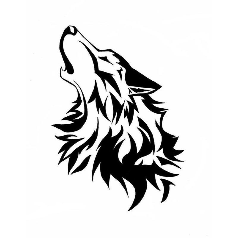 12.8*17.8CM Cute Intoxicated Howling Wolf Reflective Car Sticker Vinyl Car Bumper Decal Black/Silver S1-2317