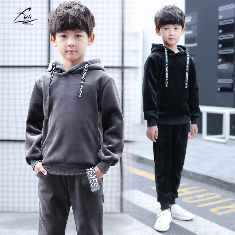 FYH Kids Clothes Boys Sports Suit Winter Warm Thicken Velvet Set Pleuche Hooded Pullovers+Pants Children Clothing Set 2pcs fyh boys long sleeve sports set school boys casual printed suit hooded sweatshirt pants kids autumn clothes children tracksuit