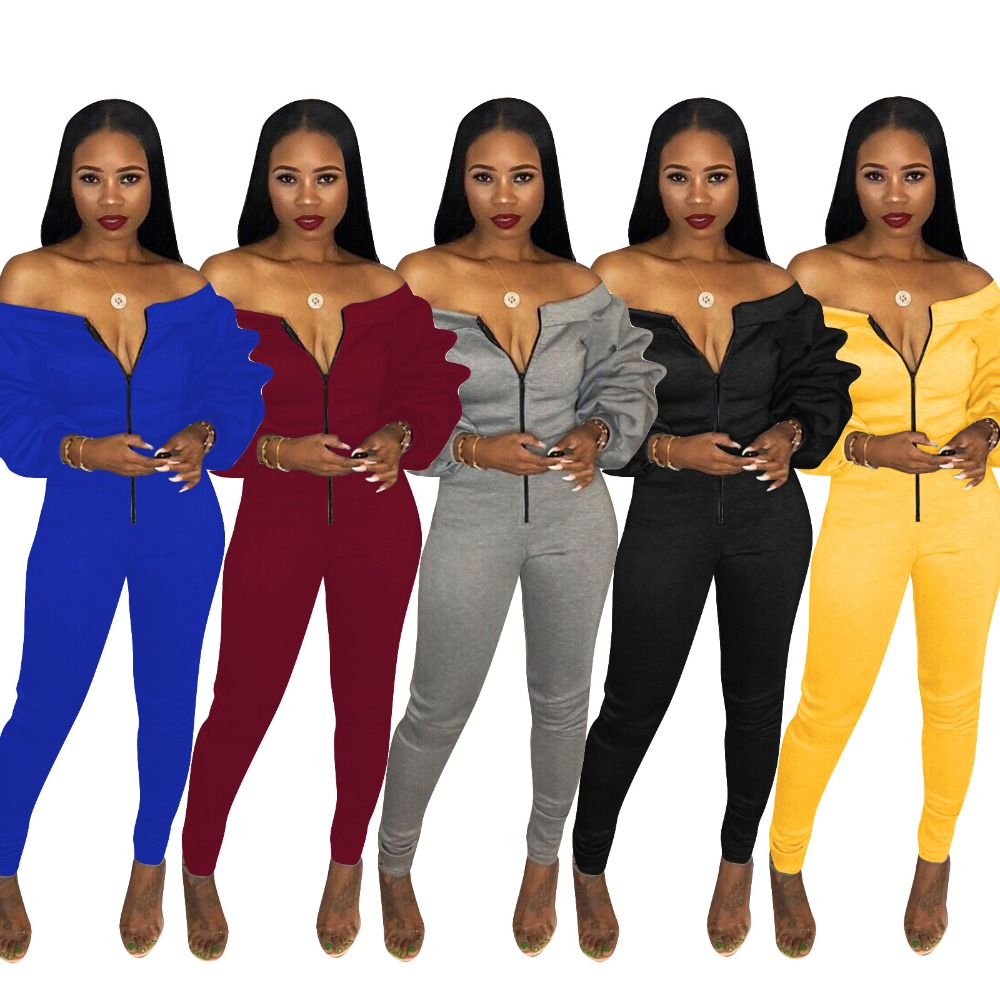 Adogirl Plus Size Women Casual   Jumpsuit   Zipper Front Slash Neck Off Shoulder Long Puff Sleeve Thick Romper Fashion Overalls