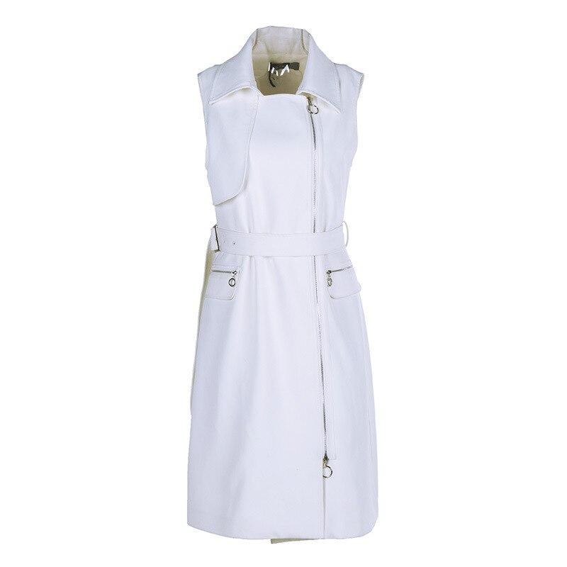 4d7ff80bb5 Col Rabattu Printemps 2019 Femmes European Long American White Mince Style  Éclair Blanc Fermeture D'hiver Gilet New Mode ...