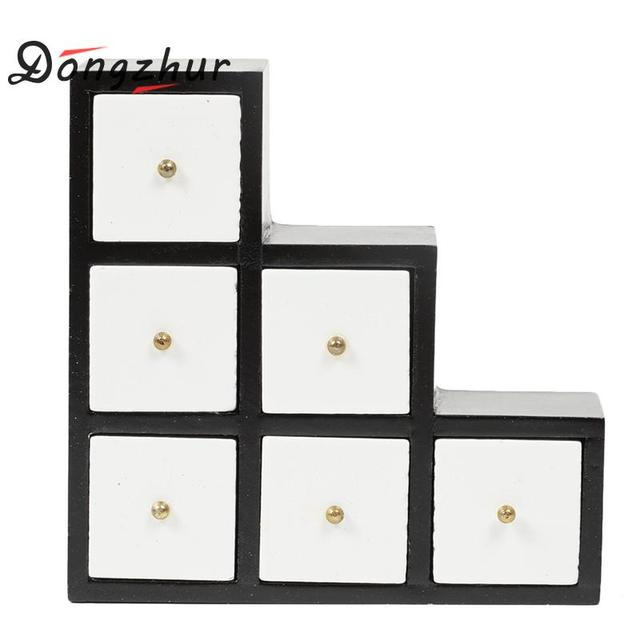 Dongzhur Doll House Mini Furniture Black And White Simple Ladder Cabinet Dollhouse Miniatures 1 12