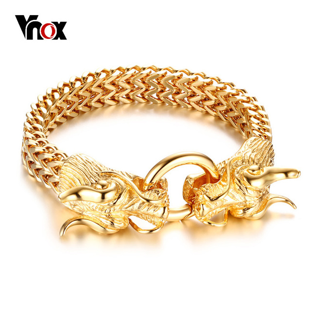 Vnox Stylish Chinese Dragon Head Closure Chunky Double Curb Chain Bracelet For Men Gold Color Stainless