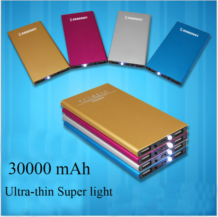 30000 mAh Power bank 2 USB external font b battery b font LED portable charger super