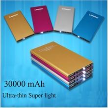30000 mAh cargador de batería externa del banco 2 USB LED portátil súper ligero de La Batería Banco para el iphone Sumsung Móvil Universal