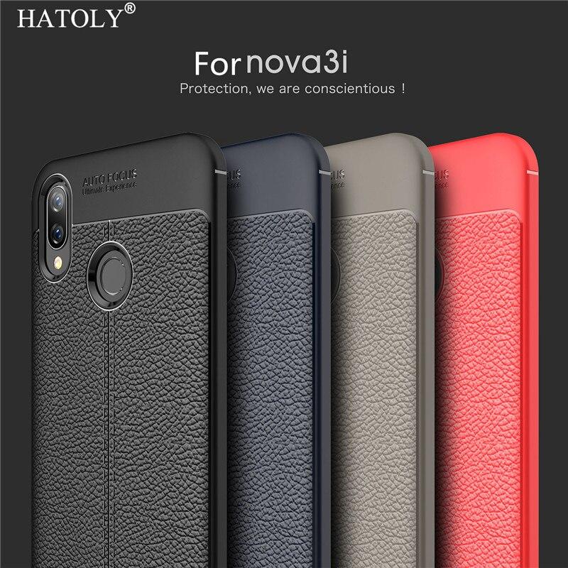 Custodia Huawei P Smart Plus Case Huawei Nova 3i Funda Phone Case Huawei P Smart Plus Caso 6.3 Cover Litchi TPU Rugged Bumper {