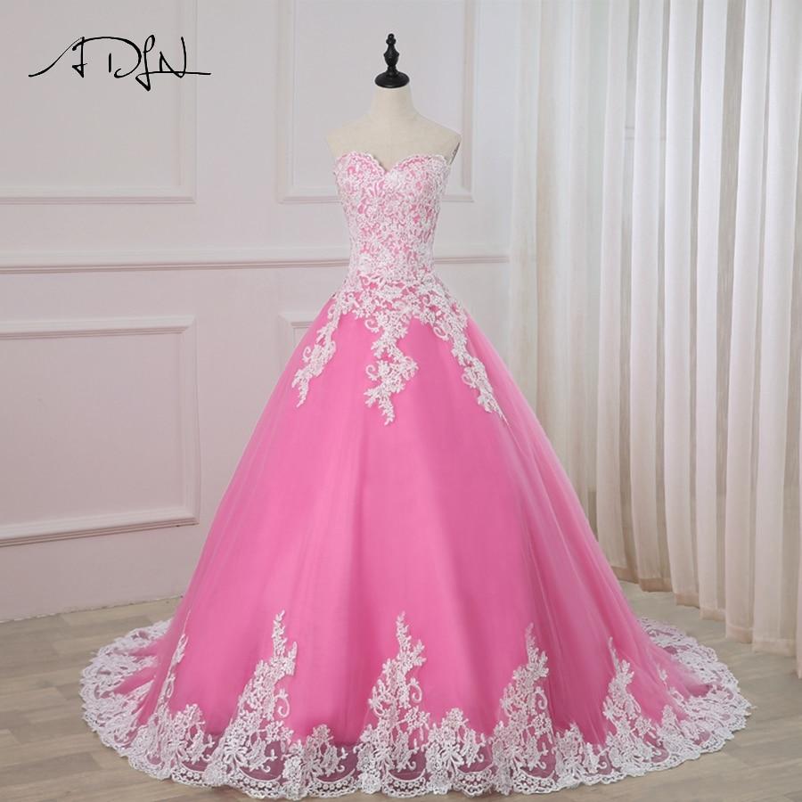 Pink Tulle Wedding Gown: ADLN 2019 Pink Wedding Dress Sweetheart Sleeveless