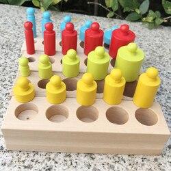 Montessori brinquedos educativos de madeira cilindro soquete blocos brinquedo prática desenvolvimento do bebê e sentidos 4 pc/1 conjunto monterssori família