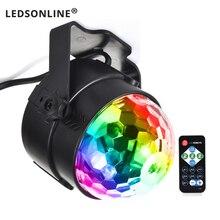 цена на Holiday Lighting 3W Mini RGB Crystal Magic Ball Led Stage Lights DJ KTV Disco Party Lamp IR Remote Control Christmas Projector