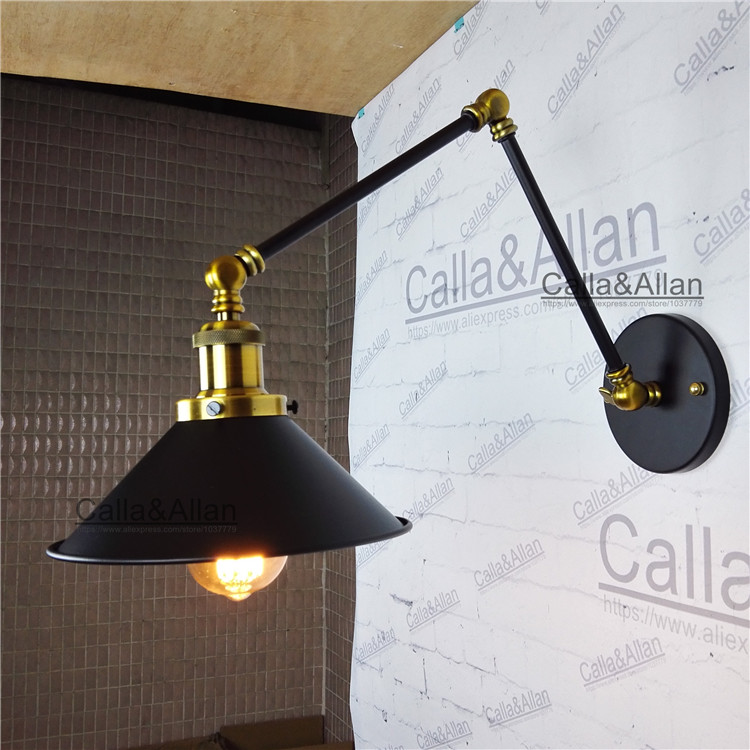 Loft retro Matte Black iron shade adjustable swing arm reading wall lamps Lights e27/e26 sconce for workroom bedroom bar cafe e27 vintage indoor black wall lamps loft swing rock wall sconce 2 head lights robot arm sconce wall lamp for workroom cafe