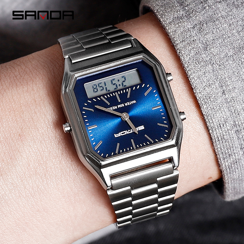 Sanda Men Watches Display Digital Stainless-Steel Retro Saati Relogios New Band Zegarek