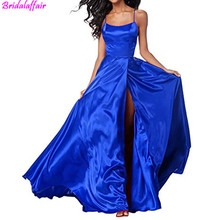 Royal blue Long Prom Dresses with Split A-Line Open Back Satin Dress Spaghetti Strap Backless 2019 Evening Gowns