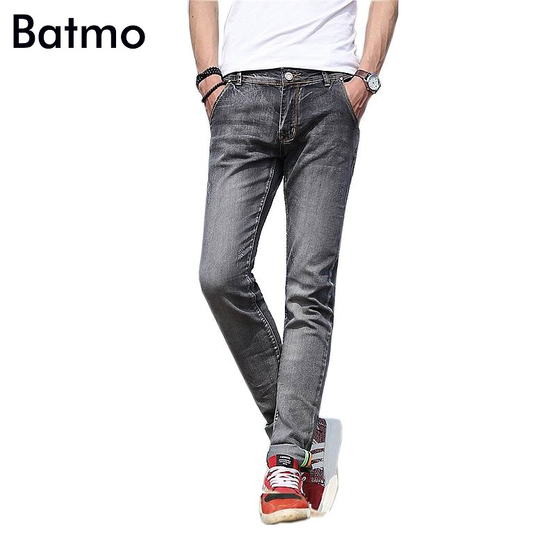 2017 new arrival high quality cotton slim elastic blue jeans men,gray fashion skinny men ...