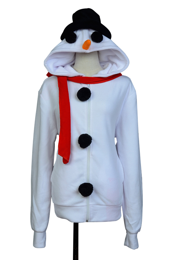 SnowMan White Black Hoodies Jacket Coat Long Sleeve With Hat Cap Unisex Autum Winter Outfit Cartoon Style Cosplay Costume