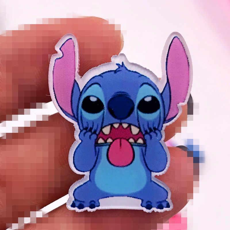 Vendita calda 1 Pcs Mostro di Cute Lilo Stitch Anime Acrilico Distintivi e Simboli per Zaino borse cappello di Modo Spille Spilli sui Vestiti hot Icone