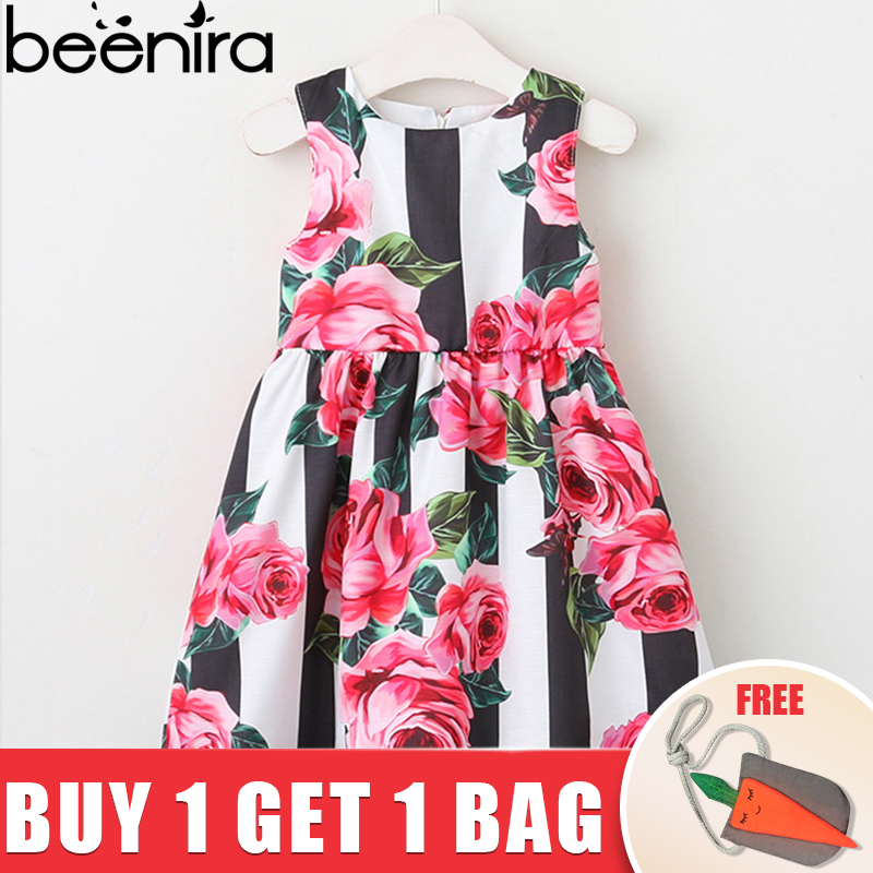 Beenira Children Dress European And American Style 2018 Girls Sleeveless Striped Flower Princess Dress Design Baby Girls Dress цена