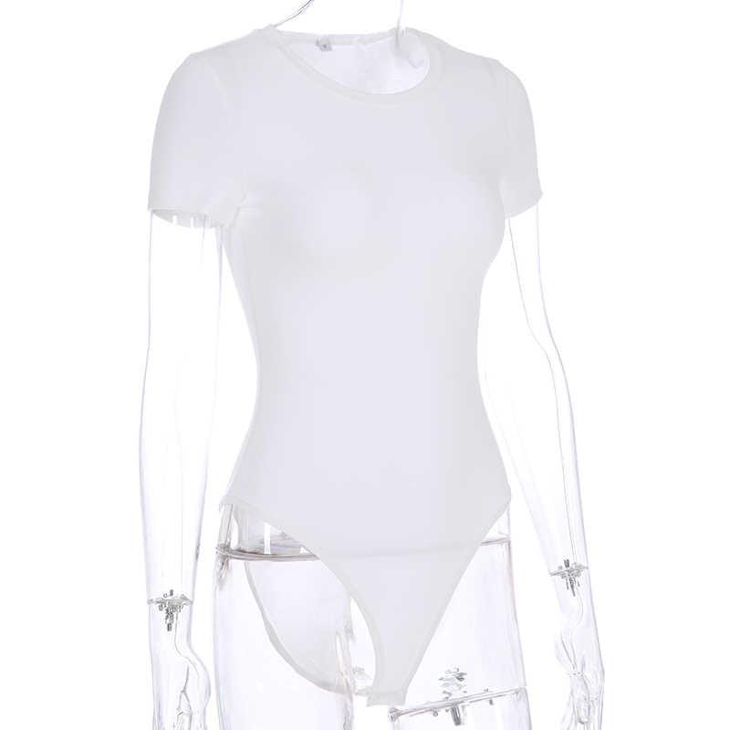 Sweetown черный короткий рукав боди для женщин лето осень 2019 Белый Элегантный с круглым вырезом Женское боди зеленый Basic облегающие костюмы