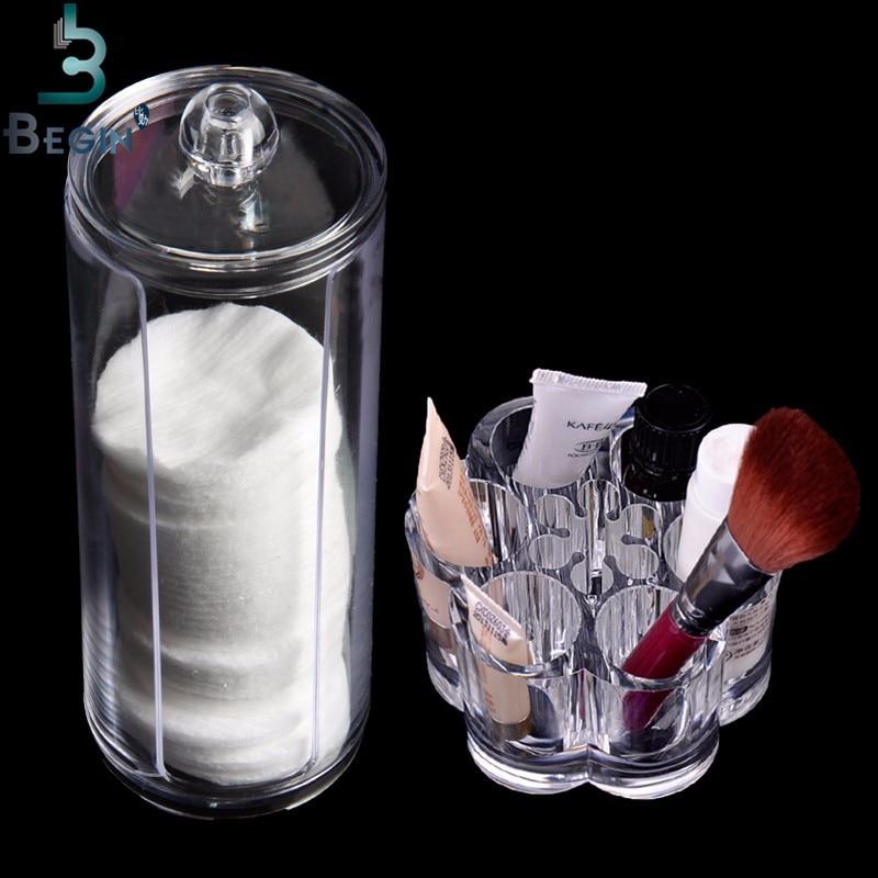 Acrylic Makeup Organizer Kotak Portabel Putaran Wadah Penyimpanan - Riasan