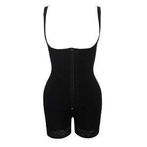 Image 3 - Femmes peau couleur noire une pièce corps Shaper avec dentelle fermeture éclair sous le buste grande taille 5XL 6XL femme sous vêtements Body livraison directe