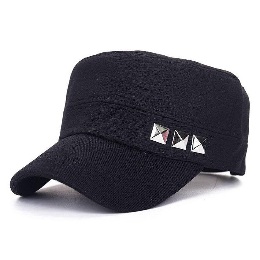 99bd32f14 US $9.79 |Mens Military Hats Flat Cap Classic Rivet Cotton Fabrics Plain  Vintage Army Cadet Patrol Cap Adjustable Black Green Military cap-in  Military ...