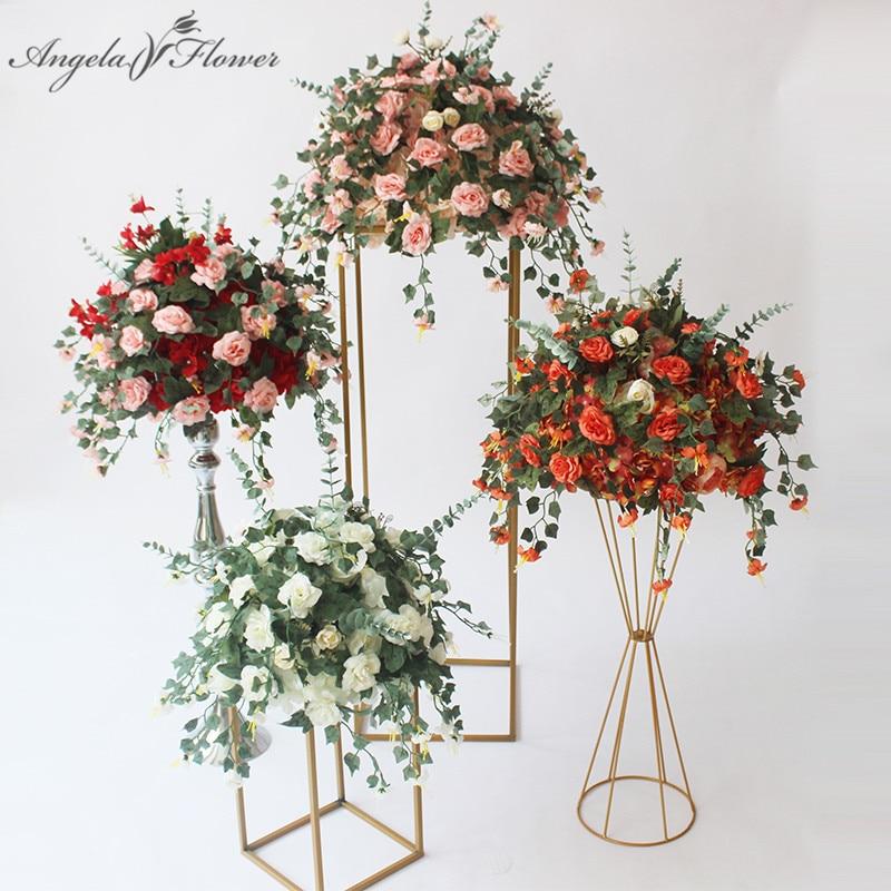 New table flower centerpiece with plant vine DIY wedding decor backdrop artificial flower ball silk floral