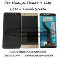 Preto/branco/ouro para huawei honor 7 lite nem-l21 display lcd + montagem digitador da tela de toque do smartphone frete grátis