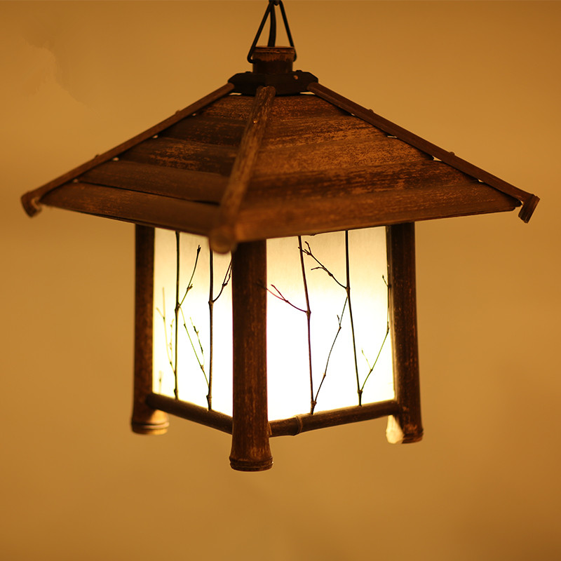Japanese Modern Bamboo Pendant Light Washitsu Tatami Decor Shoji Lamp Restaurant Dining Room Hallway Japan Lighting and Lantern
