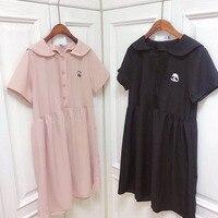 Summer New Chic Women Sweet Dress Short Sleeve Peter Pan Collar Girl's Loose Dresses Cute Bear Embroidery