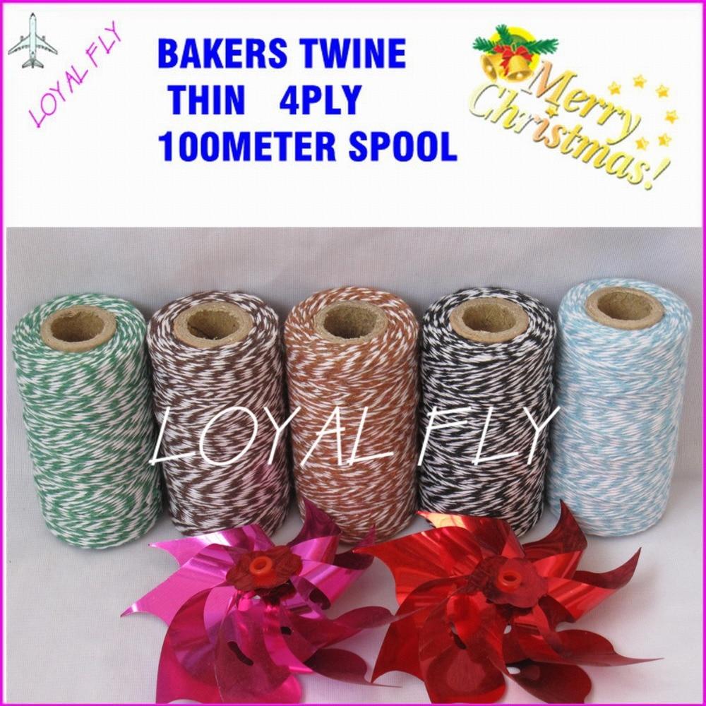 El hilo fino de algodón 4ply 100m / carrete, los panaderos trenzan - Para fiestas y celebraciones