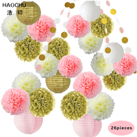 HAOCHU 26pcs 2 Meter Sparkling Paper Garland Bunting Gold Pink Tissue Paper Pom Poms for Baby Shower Holiday Party Decoration