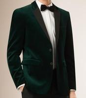 2019 Men Dark Green Velvet Luxury Suit Jacket Men Slim Fit Tailored Made Blazer Jacket Vestido Men Outwear Coat