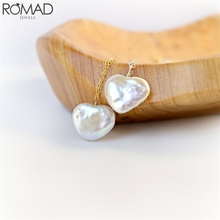 ROAMD Baroque Pearls Necklace Women Pendant Necklaces Heart Pearl Chain Necklace Long Gold Girl Irregular Pearl Beads Jewelry R5 original design g9k gold baroque big pearl long necklace sweater chain fine pendant necklace for women and girl high end luxury